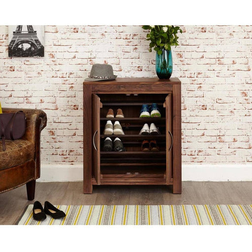 Mayan Solid Walnut 2 Door Shoe Cupboard - Simply Utopia