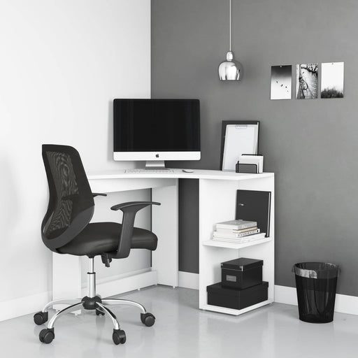 Chesil Modern Home Office Compact Corner Desk With 2 Storage Areas in White - Simply Utopia
