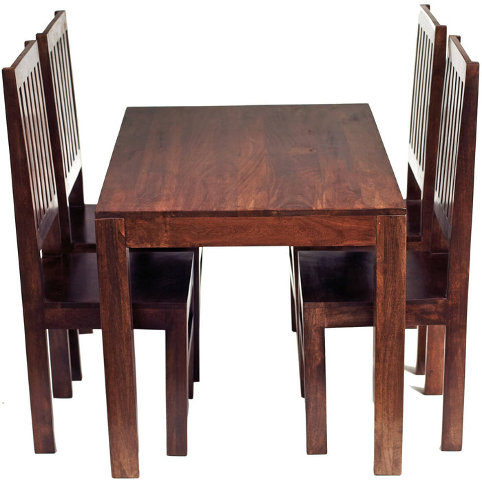 Toko Dark Mango 4 FT Dining Set with 4 Leather or Wooden Chairs - Simply Utopia