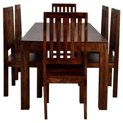 Toko Dark Mango 6Ft Dining Set With Wooden Chairs - Simply Utopia