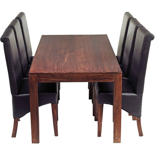 Toko Dark Mango 6Ft Dining Set With Leather Chairs - Simply Utopia