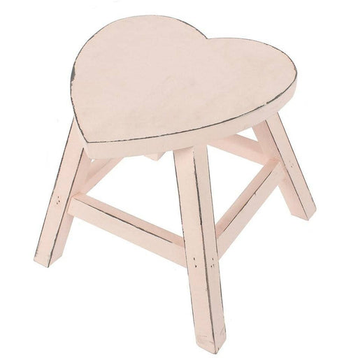 Pink Shabby Heart Stool - Simply Utopia