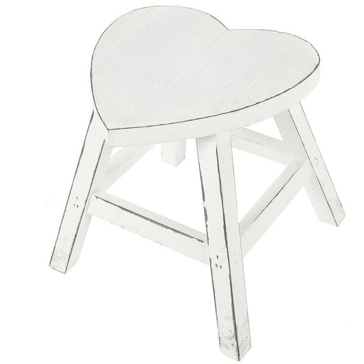 White Shabby Heart Stool - Simply Utopia