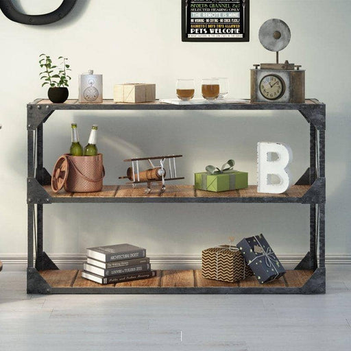 Ascot Industrial Style Multifunctional Console Table With 2 Shelves - Simply Utopia