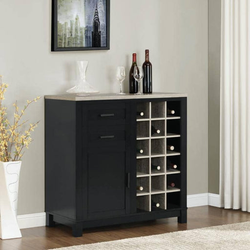 Carver Bar Cabinet With 18 Bottle Slots 2 Drawer and 1 Door - Simply Utopia
