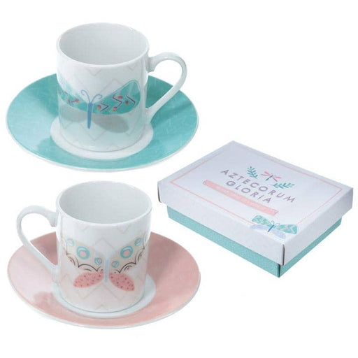 Set of 2 Espresso Cup and Saucer - Butterfly Design - Simply Utopia