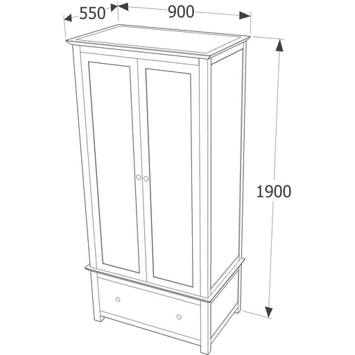 Elgin 2 door, 1 drawer wardrobe - Simply Utopia