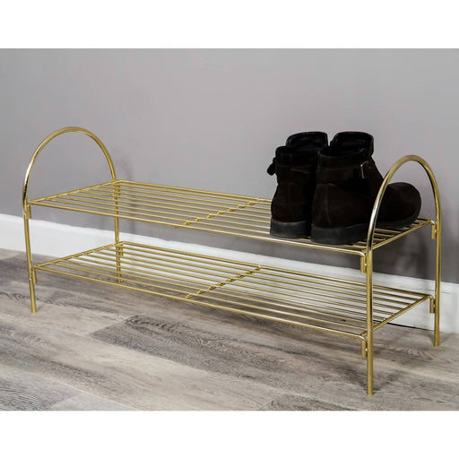Gold Finished Shoe Rack With 2 Tiers - Simply Utopia