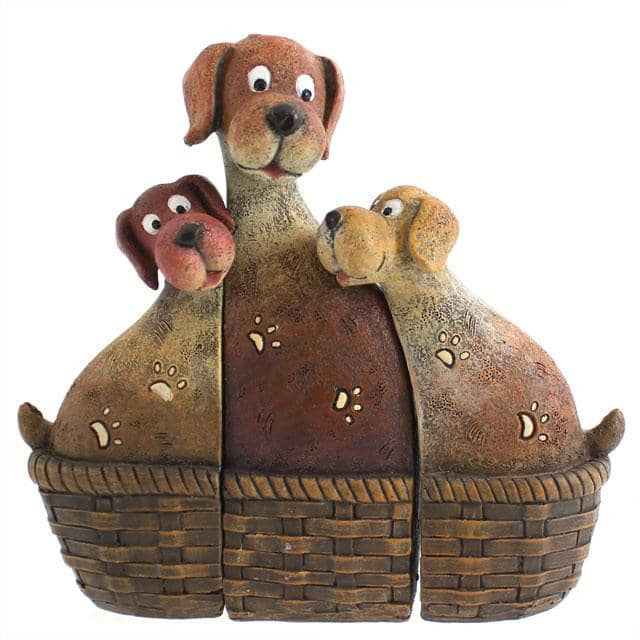 Dog Family In Basket - Simply Utopia