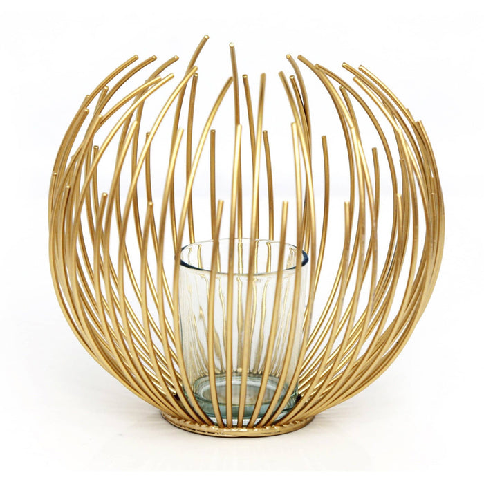 Gold Wire Candle Holder 16cm - Simply Utopia