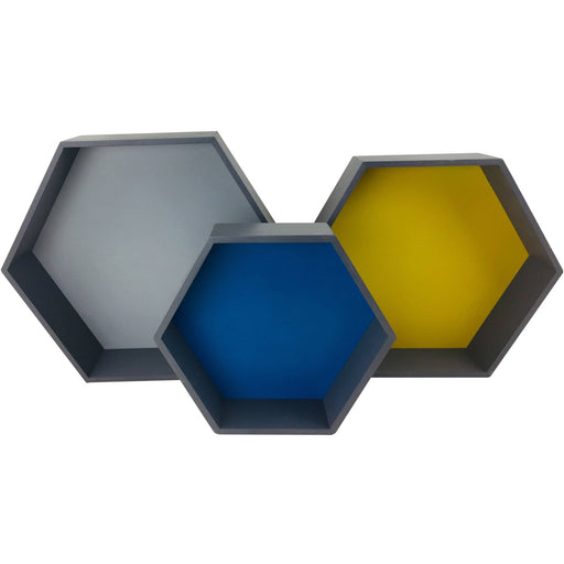 Set of 3 Wooden Hexagon Shelves - Simply Utopia