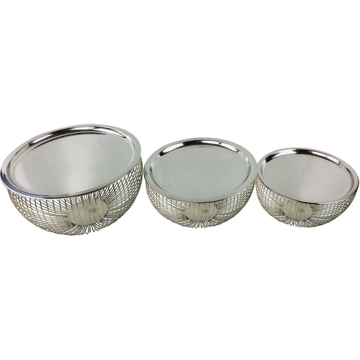 Set Of 3 Silver Bowls With Plate Tops - Simply Utopia
