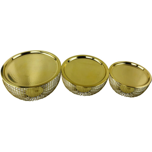 Set Of 3 Gold Bowls With Plate Tops - Simply Utopia