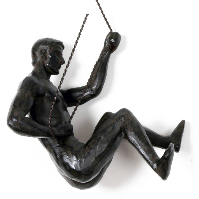 Abseiling Man Looking Down Ornament Black - Simply Utopia