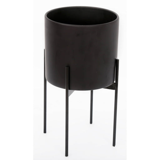 Black Planter With Metal Stand 24cm - Simply Utopia