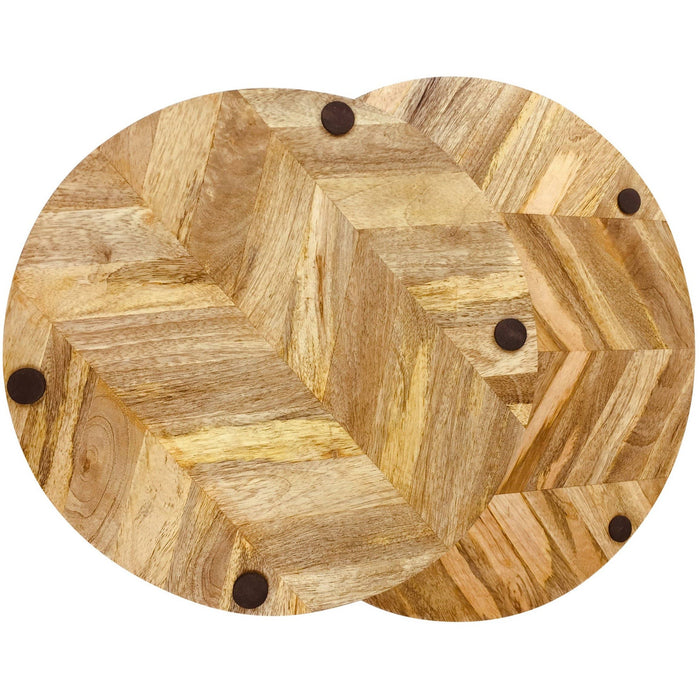 Herringbone Wood Trays Set of 2 - Simply Utopia