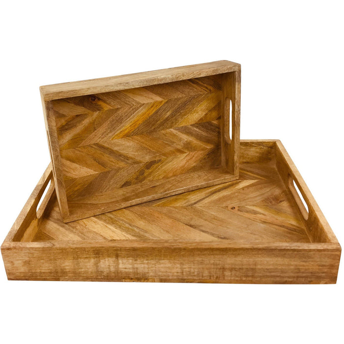 Herringbone Square Wood Rustic Trays Set of 2 - Simply Utopia