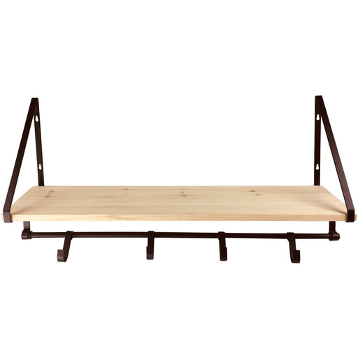 Wooden Shelf with 5 Metal Hooks - Simply Utopia