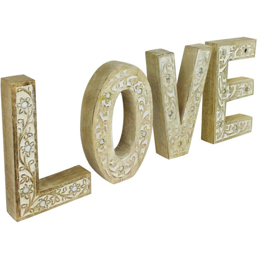 LOVE Flower Design Wooden Letters - Simply Utopia