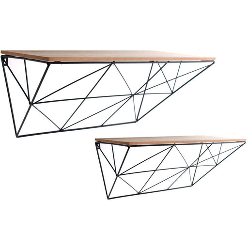 Set of 2 Black Geometric Shelves - Simply Utopia
