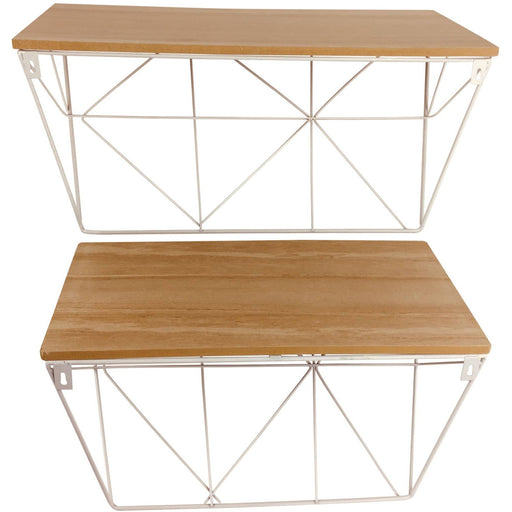 Set of 2 Geometric White Wire Shelves - Simply Utopia