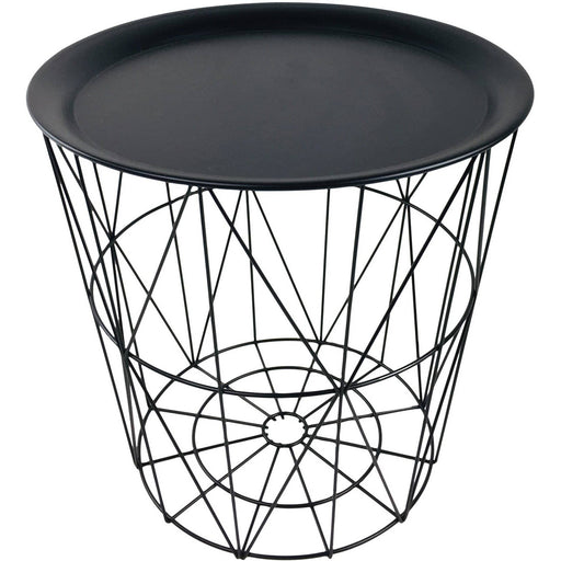 Geometric Black Wire Circular Tray Table - Simply Utopia