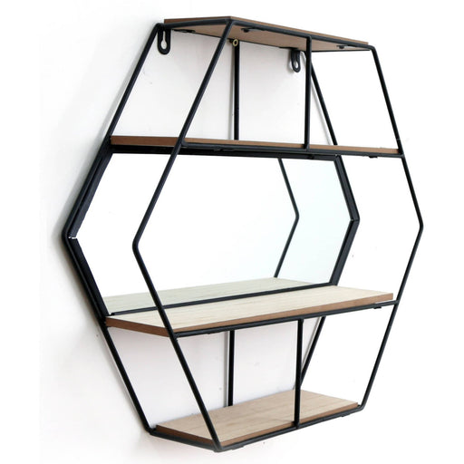 Hexagon Unit With Mirror & 3 Shelves - Simply Utopia