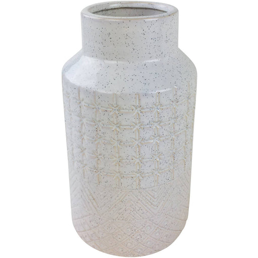 White Star Textured Stoneware Vase 30cm - Simply Utopia
