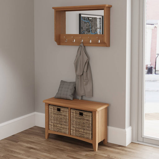 Walton Oak Solid Wood Framed Hall Bench Mirrored Coat Hook Panel - Simply Utopia