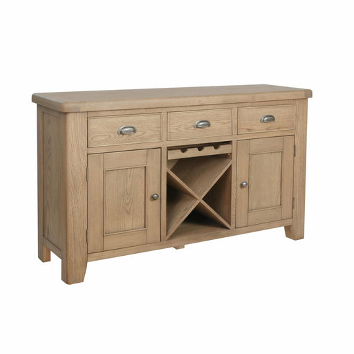 Radiant Warm Oak Large Sideboard With 3 Dovetailed Drawers And 2 Doors - Simply Utopia