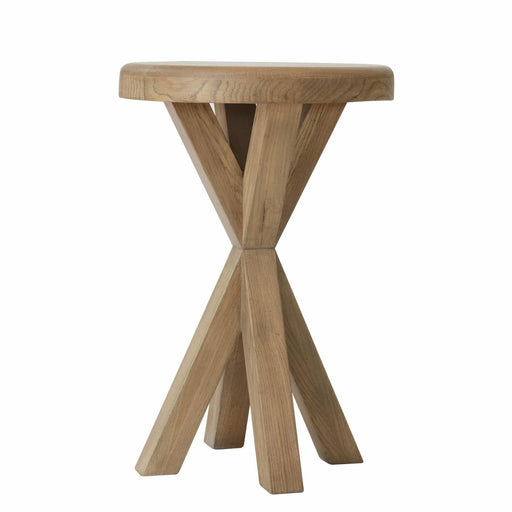 Rounded Warm Oak Side Table With Tapered Tri-pod Style Legs - Simply Utopia