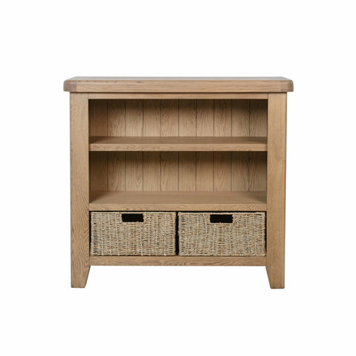 2 Basket And 2 Shelve Radiant Warm Oak Bookcase With Rounded Corners And Tapered Legs - Simply Utopia