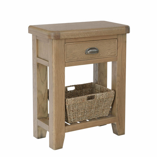 Elegant Traditional Style Warm Oak Telephone Table With 1 Dovetailed Drawer & 1 Wicker Baskets - Simply Utopia