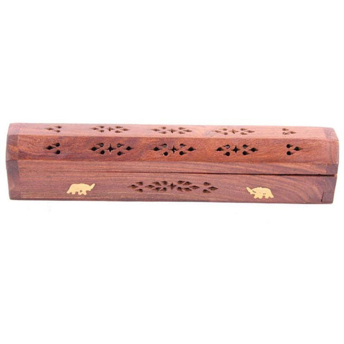 Decorative Sheesham Wood Box with Elephant Design - Simply Utopia