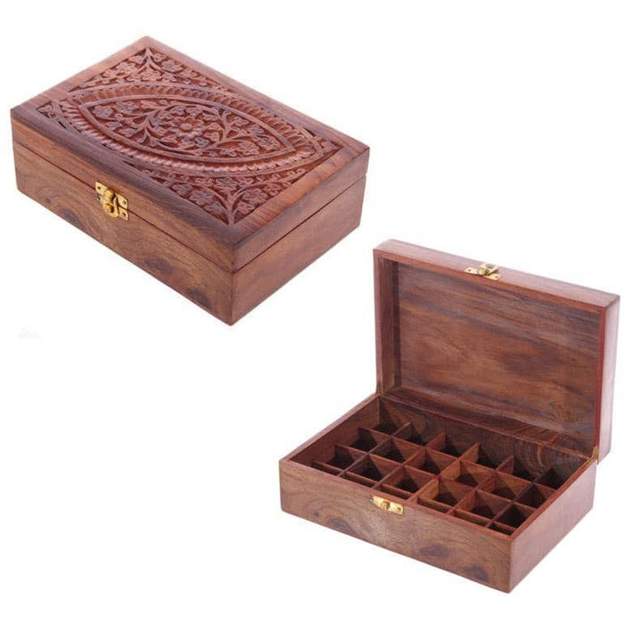 Decorative Sheesham Wood Carved Compartment Box Large - Simply Utopia