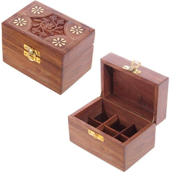 Decorative Sheesham Wood Floral Compartment Box Small - Simply Utopia