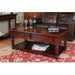 La Roque Solid Mahogany Coffee Table With 2 Drawers & Antiqued Brass Drop Handles - Simply Utopia
