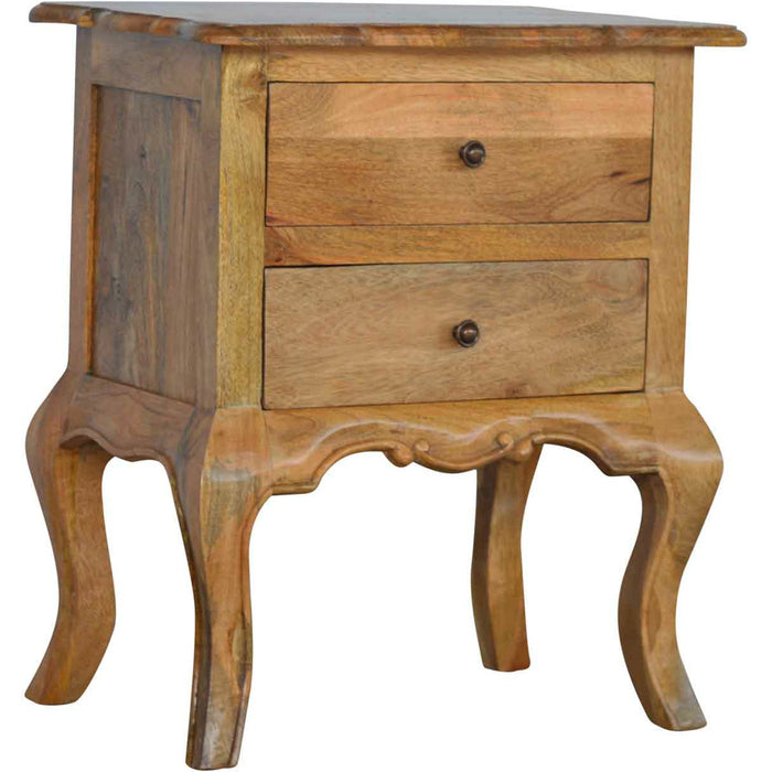 French Design Cabriole Leg 2 Drawer Bedside - Simply Utopia