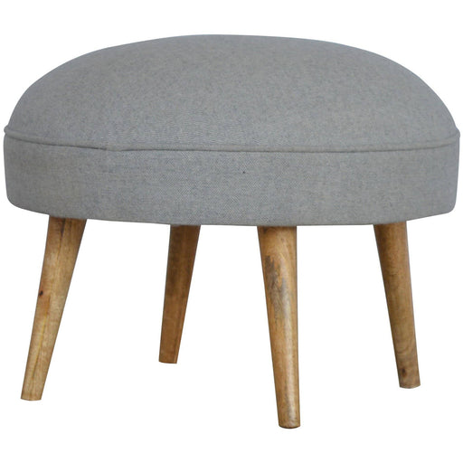 Nordic Style Round Footstool in grey tweed - Simply Utopia