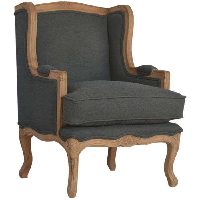French Upholstered Wing Arm Chair - Simply Utopia