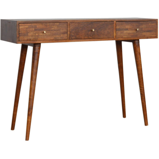 3 Drawer Mixed Chestnut Console Table - Simply Utopia