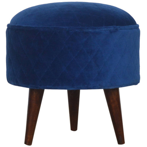 Quilted Royal Blue Velvet Nordic Style Footstool - Simply Utopia
