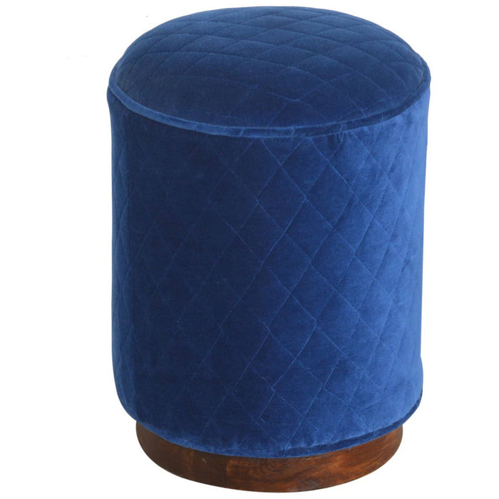 Quilted Royal Blue Footstool - Simply Utopia