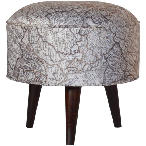 Round footstool with atlas print velvet - Simply Utopia