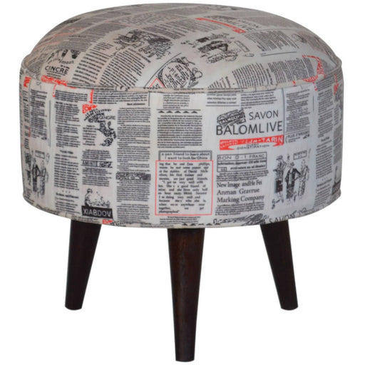Round footstool with news print velvet - Simply Utopia