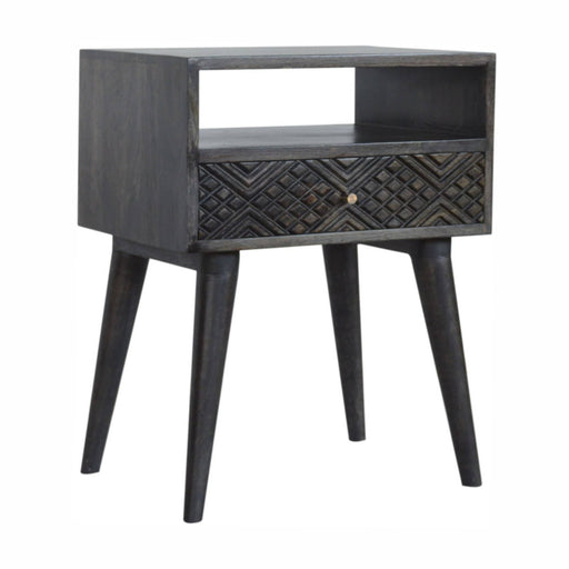 Ash Black Carved Drawer Bedside - Simply Utopia