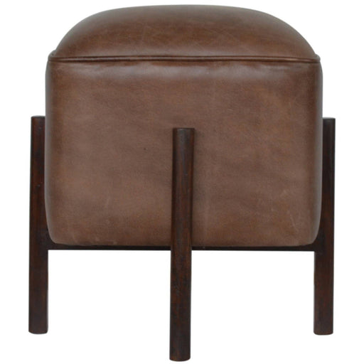 Brown Leather Footstool with Solid Wood Legs - Simply Utopia