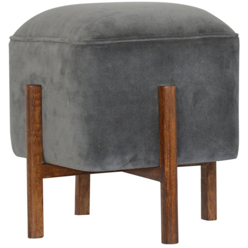 Grey Velvet Footstool with Solid Wood Legs - Simply Utopia