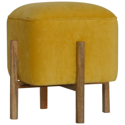 Velvet Footstool with Solid Wood Legs - Simply Utopia