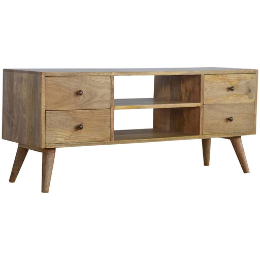 Solid Wood Nordic Media Unit With 4 Drawers - Simply Utopia